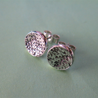 Fine silver stud earrings with catkin texture