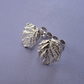 Fine silver bramble leaf stud earrings