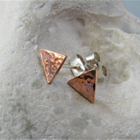 Copper triangle earrings with silver posts
