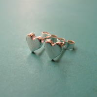 Hallmarked Fine silver heart stud earrings