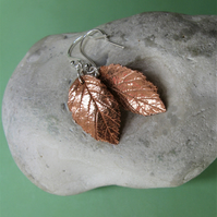 Copper leaf earrings with sterling silver