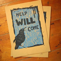Reassuring Raven (Blue on Kraft) Original screenprint