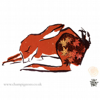 The maple hare. An original hand pulled autumn print
