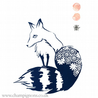 Blue kitsune- original art fox screen print