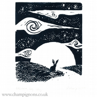 Little hare, big sky. Original silkscreen print (white)