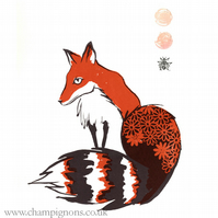 Orange Fox with daisies. Original screenprint