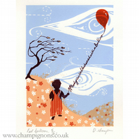 No one can be uncheered with a balloon Original silkscreen print.