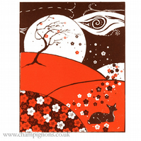 A little print of a sleeping deer in spring (with added plum blossom)