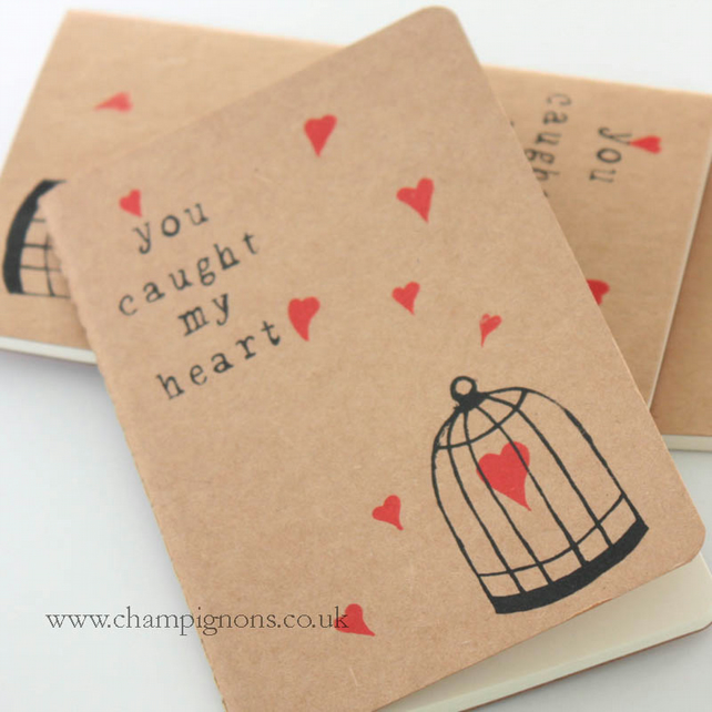 you caught my heart valentines moleskine