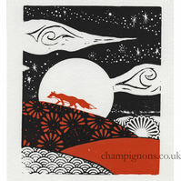 Little red fox Original silkscreen print
