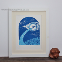 The hare that flew. Original hand pulled art print.