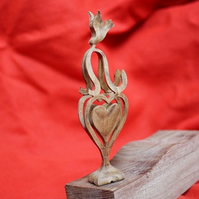 Wooden Dove and Hearts Ornament or Wedding Memento