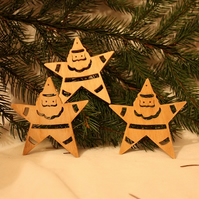 Wooden Christmas Santa Star Bauble Tree decorations