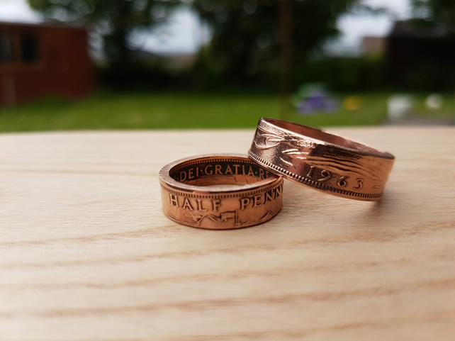 Half penny coin ring