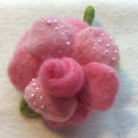 Pink Rose Needle felted wire flower brooch