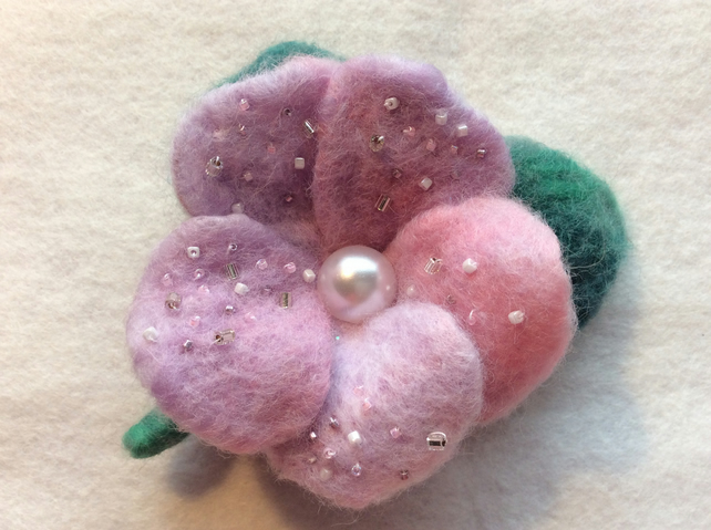Lilac needle felted flower brooch handmade