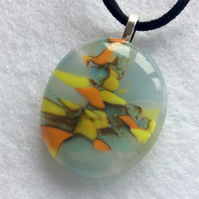 Unique fused glass pendant