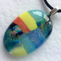 Multicoloured fused dichroic glass pendant