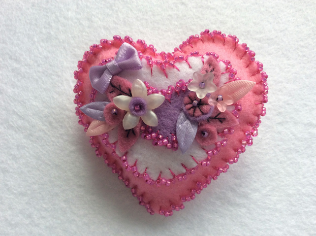 Pretty in pink handmade heart brooch