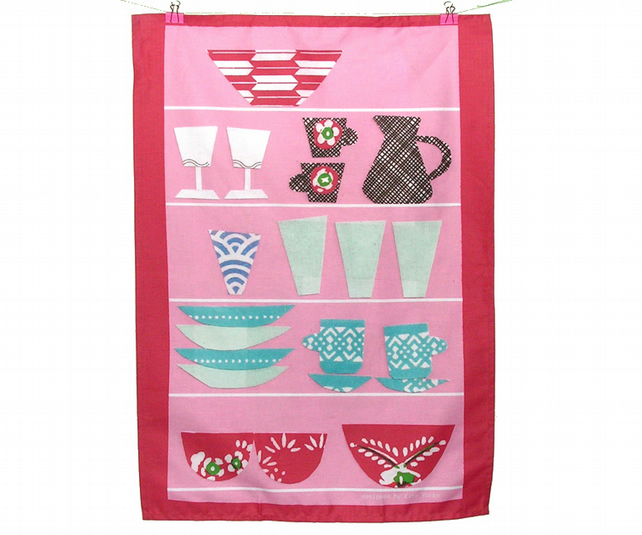 Pink Shelves Design Tea Towel
