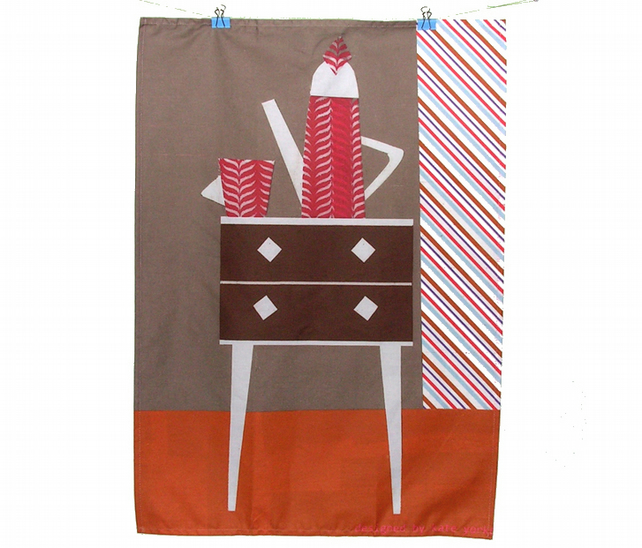 Retro Drawers Tea Towel
