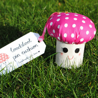 Pink Toadstool Pin Cushion