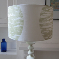 Pale Green & White Large Lampshade -35cm Diameter