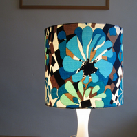 Blue, Retro Style, 25cm Diameter Lampshade Made With Vintage 1970's Fabric