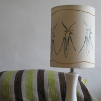 Small Lampshade - 15cm Diameter. Cream, Blue and Mustard