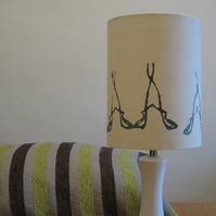 15cm Drum Lampshade - Cream and Blue Print