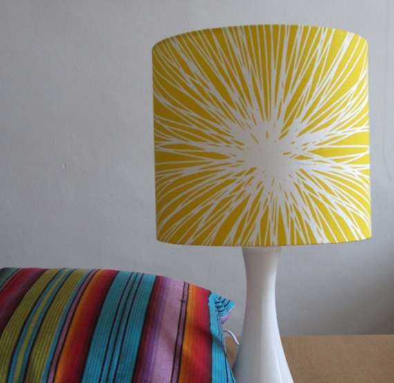 SALE ITEM   Lampshade In Bright Yellow Modern Print