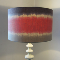 Large, Striped Dip Dye Effect Lampshade - Coral, Dark Purple and Taupe