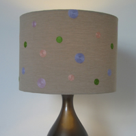 Spotty Lampshade -Pastel Coloured Embroidered Spots (30cm Diameter)