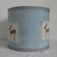 Pale Blue Lampshade With Printed Deer Image