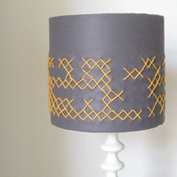 Grey Felt Lampshade With Yellow hand Embroidered X's - 26cm Diameter