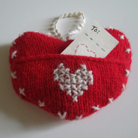 Valentines -  Hand Knitted Hanging Heart With Pocket & Greeting Card