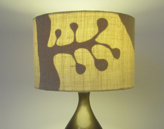 30cm Diameter Drum Lampshade - Hand Cut Paper and Hessian