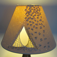 Small Lampshade - Hand Sewn, Collage & Pierced Paper