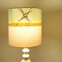 Pale Blue, Yellow, Brown & Cream Modern Design Hand Printed Lampshade
