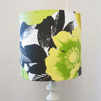 Bright Yellow, Lime & Black Modern Floral Design 25cm Diameter Laampshade