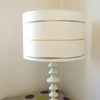Striped Lampshade - Honey Yellow & Grey Painterly Stripes On White