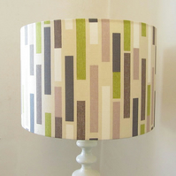 Large Green, Grey, Brown and Cream Drum Lampshade
