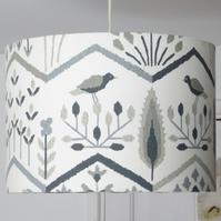 Rustic Bird Print Ceiling Pendant Light Shade - 35cm Diameter.