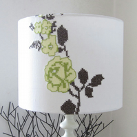 Lampshade - 30cm Diameter With Rustic Cross Stitch Flower Design