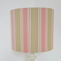25cm Diameter Pink, Green & Cream Striped  Drum Lampshade