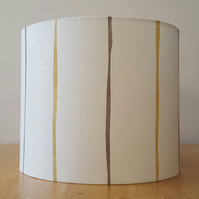 Honey Yellow & Slate Grey, Vertical Striped 30cm Diameter Lampshade