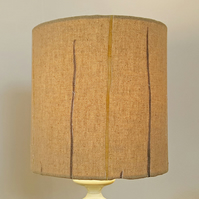 26cm Diameter Lampshade Featuring Random Grey & Yellow Vertical Stripes.