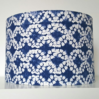 Blue and White Tie-Dye Effect Drum Lampshade - Ceiling Pendant  Or Lamp Shade