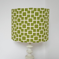 Green and Cream, Geometrice Design Drum Lampshade - 30 cm Diameter