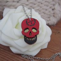 Small Hand Painted Skull Necklace Pendant -  5 Colour Choices Available